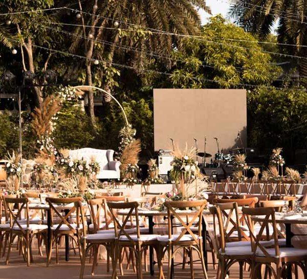 مراسم در فضای باز عروسی در باغ